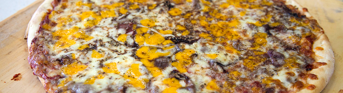 Triple Cheese Beef Pizza! Schaumburg Catering!